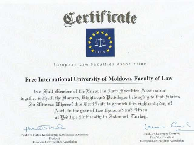 Universitatea Liberă Internațională din Moldova a devenit membră a Asociației Europene a Facultaților de Drept